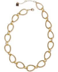 """Laundry by Shelli Segal - Gold-tone Crystal Open Teardrop Link Necklace, 16"""" + 2"""" Extender - Lyst"""
