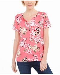 Karen Scott Petite Floral-print Henley Top, Created For Macy's - Pink