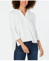 Style & Co. Hoodie 3/4-sleeve Top, Created For Macy's - Gray