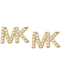 Michael Kors Precious Metal-plated Sterling Silver Pave Logo Studs - Metallic