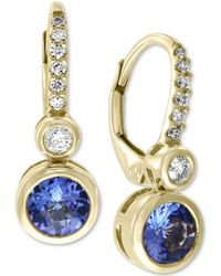 Effy Collection - Effy® Tanzanite (9/10 Ct. T.w.) & Diamond (1/10 Ct. T.w.) Drop Earrings In 14k Gold - Lyst