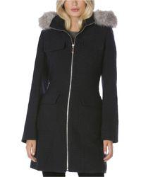 Laundry by Shelli Segal Faux-fur-trim Hooded Coat - Black