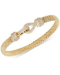 Macy's Diamond Clasp Popcorn Link Bracelet (5/8 Ct. T.w.) In 14k Gold - Metallic