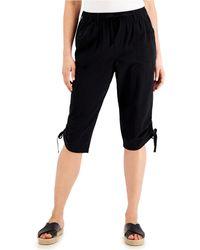 Karen Scott Ruched Denim Skimmer Shorts, Created For Macy's - Black