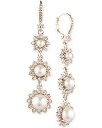 Marchesa Gold-tone Imitation Pearl & Crystal Triple Drop Earrings - Metallic