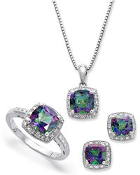 Macy's - Sterling Silver Jewelry Set, Mystic Topaz (4-3/4 Ct. T.w.) And Diamond Accent Necklace, Earrings And Ring Set - Lyst