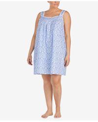 Eileen West - Plus Size Venise-lace Woven Cotton Chemise - Lyst