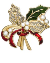 Charter Club - Holiday Lane Gold-tone Imitation Pearl, Crystal & Epoxy Holly Pin, Created For Macy's - Lyst