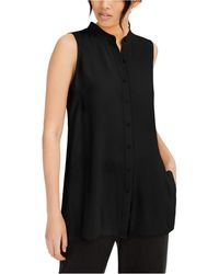 Eileen Fisher System Silk Mandarin-collar Blouse - Black