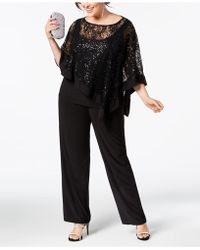 R & M Richards R M Richards Plus Size 2-piece Poncho Pant Set - Black