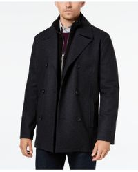 Kenneth Cole - Big & Tall Double Breasted Wool Peacoat With Bib - Lyst