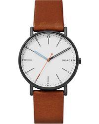 Skagen - Men's Signatur Leather Strap Watch - Lyst