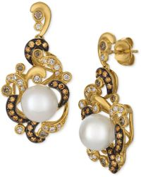 Le Vian - Cultured Freshwater Pearl (8-1/2mm) & Diamond (5/8 Ct. T.w.) Drop Earrings In 14k Gold - Lyst