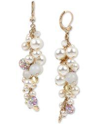 Betsey Johnson Gold-tone Pavé-fireball & Imitation Pearl Seashell Shaky Linear Drop Earrings - Natural