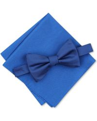 Alfani - Solid Textured Pre-tied Bow Tie & Solid Textured Pocket Square Set, Created For Macy's - Lyst