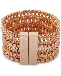 Guess - Gold-tone Multi-chain Magnetic Flex Bracelet - Lyst