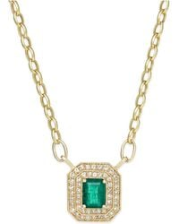 Effy Collection - Brasilica By Effy Emerald (1-3/8 Ct. T.w.) And Diamond (1/2 Ct. T.w.) Pendant Necklace In 14k Gold, Created For Macy's - Lyst