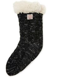 Dearfoams Space-dye Cable Knit Blizzard Slipper Sock, Online Only - Black