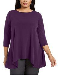 Alfani Plus Size Handkerchief-hem Top, Created For Macy's - Purple