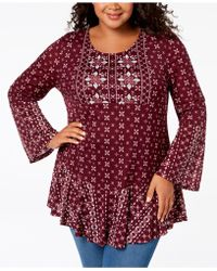 Style & Co. - Plus Size Mixed-print Flounce-hem Top, Created For Macy's - Lyst