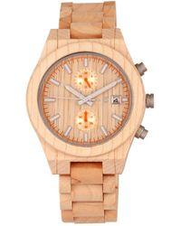 Earth Wood - Castillo Wood Bracelet Watch W/date Khaki 45mm - Lyst