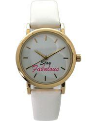 Olivia Pratt Stay Fabulous Leather Strap Watch - White
