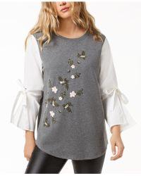 Kensie - Bell-sleeve Embroidered Jumper - Lyst