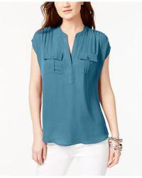 d8b87bab492e2 INC International Concepts - Dolman-sleeve Mixed-media Utility Shirt - Lyst