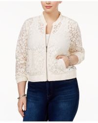 American Rag - Trendy Plus Size Lace Bomber Jacket - Lyst