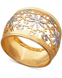 Macy's - Two-tone Filigree Flower Ring In 14k Gold & Rhodium-plate - Lyst