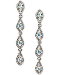 INC International Concepts Silver-tone Crystal Teardrop Linear Drop Earrings, Created For Macy's - Metallic