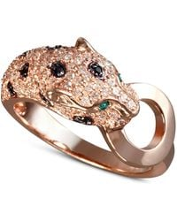 Effy Collection White And Black Diamond (5/8 Ct. T.w.) And Emerald Accent Panther Ring In 14k Rose Gold - Metallic