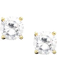 Giani Bernini - 18k Gold Over Sterling Silver Cubic Zirconia Stud Earrings (1 Ct. T.w.) - Lyst