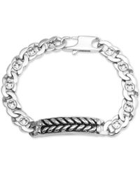 Macy's - Herringbone And Link Bracelet In Stainless Steel And Black Ion-plate - Lyst