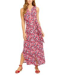 Charter Club Petite Floral-print Dress, Created For Macy's - Red