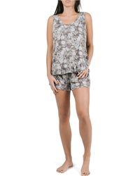 Tahari Sleeveless Ruffle Tank And Short Pajama Set - Gray