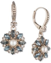 Marchesa Gold-tone Crystal, Stone & Imitation Pearl Drop Earrings - Metallic
