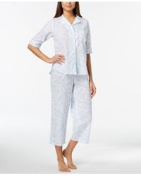 Miss Elaine - Rose-print Cropped Pajama Set - Lyst