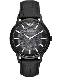 Emporio Armani - Leather Strap Watches, 49% Leather 45% Stainless Steel 5% Crystal 1% Plastic, Black, Size: Onesize - Lyst