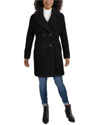 Kenneth Cole Double-breasted Faux-fur Teddy Coat - Black