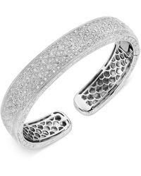Macy's Diamond Beaded Cuff Bracelet (1/2 Ct. T.w.) In Sterling Silver - Metallic