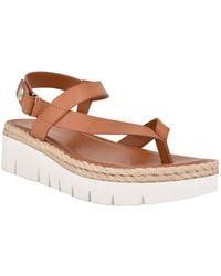 Nine West Starr Asymmetrical Low Platform Sandals - Brown