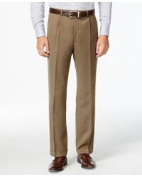 Lauren by Ralph Lauren - Tan Solid Pleated Dress Pants - Lyst