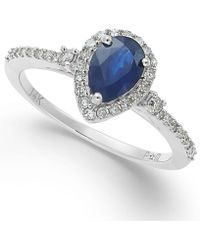 Macy's - Sapphire (7/8 Ct. T.w.) And Diamond (1/4 Ct. T.w.) Ring In 14k White Gold - Lyst