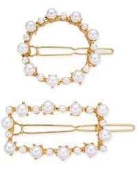 INC International Concepts Inc 2-pc. Gold-tone Imitation Pearl Hair Clip Set, Created For Macy's - Metallic