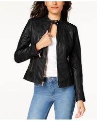 f35613a7ab780 Lyst - Guess Collarless Leather Moto Jacket in Brown
