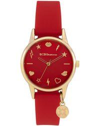 BCBGeneration Ladies 3 Hands Slim Red Silicone Strap Watch, 33 Mm Case