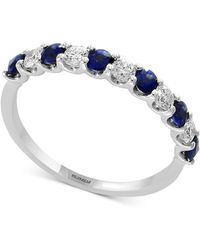 Effy Collection Gemstone Bridal By Effy® Emerald (1/2 Ct. T.w.) & Diamond (1/4 Ct. T.w.) Band In 18k White Gold - Blue