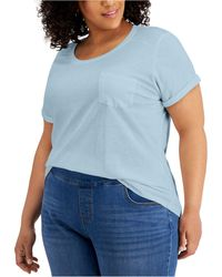Style & Co. Plus Size Cotton Cuffed-sleeve T-shirt, Created For Macy's - Blue