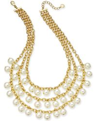 "Charter Club - Gold-tone Imitation Pearl Triple-row Statement Necklace, 17"" + 2"" Extender, Created For Macy's - Lyst"